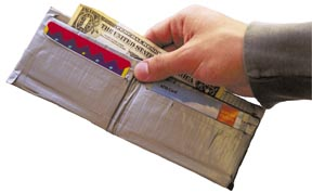 A wallet made of duct tape
