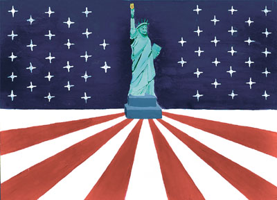 The Statue of Liberty is placed in the center of the flag to symbolize the strength of the United States. She is on a flat surface to represent America's firm footing and stability. The 13 stripes symbolizing the original 13 colonies radiate out from the Statue of Liberty to pull viewers into the statue. The stripes are colored in red to symbolize the blood spilt to obtain and maintain freedom. The 50 stars represent the 50 states.