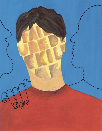Illustration by Ben Sanders, Temple City HS, for a cover story about a boy who hears voices in his head. Published in 2007.
